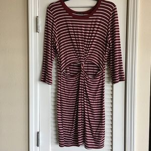 Sweet Claire Striped Knot At The Waist Dress SZ L